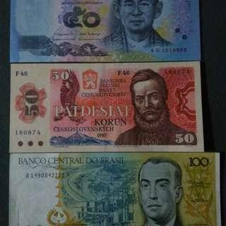 Uang asing (Thailand, Brazil, Cekoslovakia)