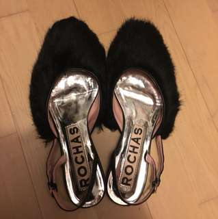 Rochas fluffy flat shoes