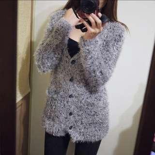 🚚 Message韓國品牌灰色V領開扣針織毛呢造型長版長袖外套上衣