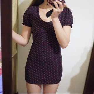🚚 Diva Soul韓國品牌深藍色紅圓點點圓領毛呢棉質合身短袖短版連身洋裝後背蝴蝶結造型小禮服