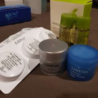 Laneige and Innisfree travel size samples