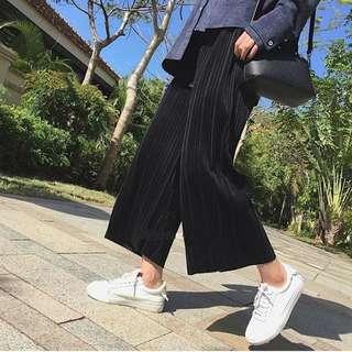 ALICE SELECT 黑/灰 絲絨加厚彈力寬鬆寬褲 闊腿褲