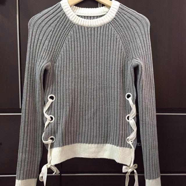 6IXTY8IGHT灰色綁帶毛衣