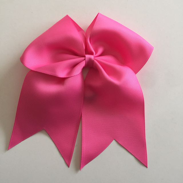 8 Inch Big Pink Cheerleader Elastic Hair Bow Tie