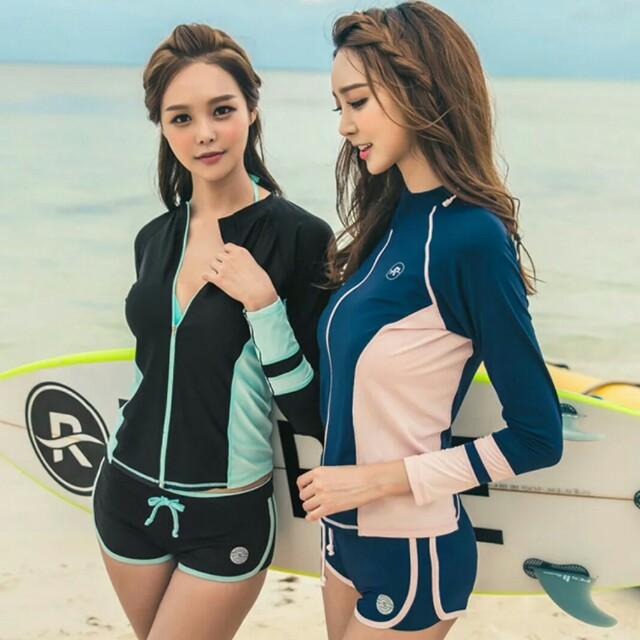 現貨韓版長袖三件套水母衣運動泳裝