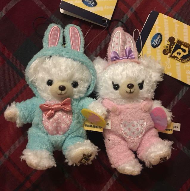 迪士尼大學熊偉伯帕菲復活節兔子變裝吊飾一對不拆