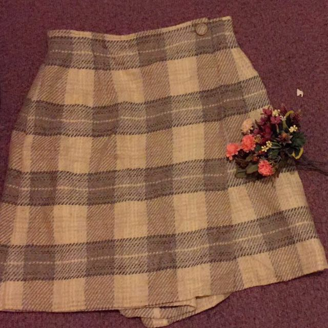 日本製-氣質格紋毛呢褲裙(復古、古著風)