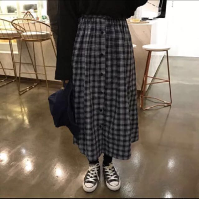 韓國格子軟妹風長裙