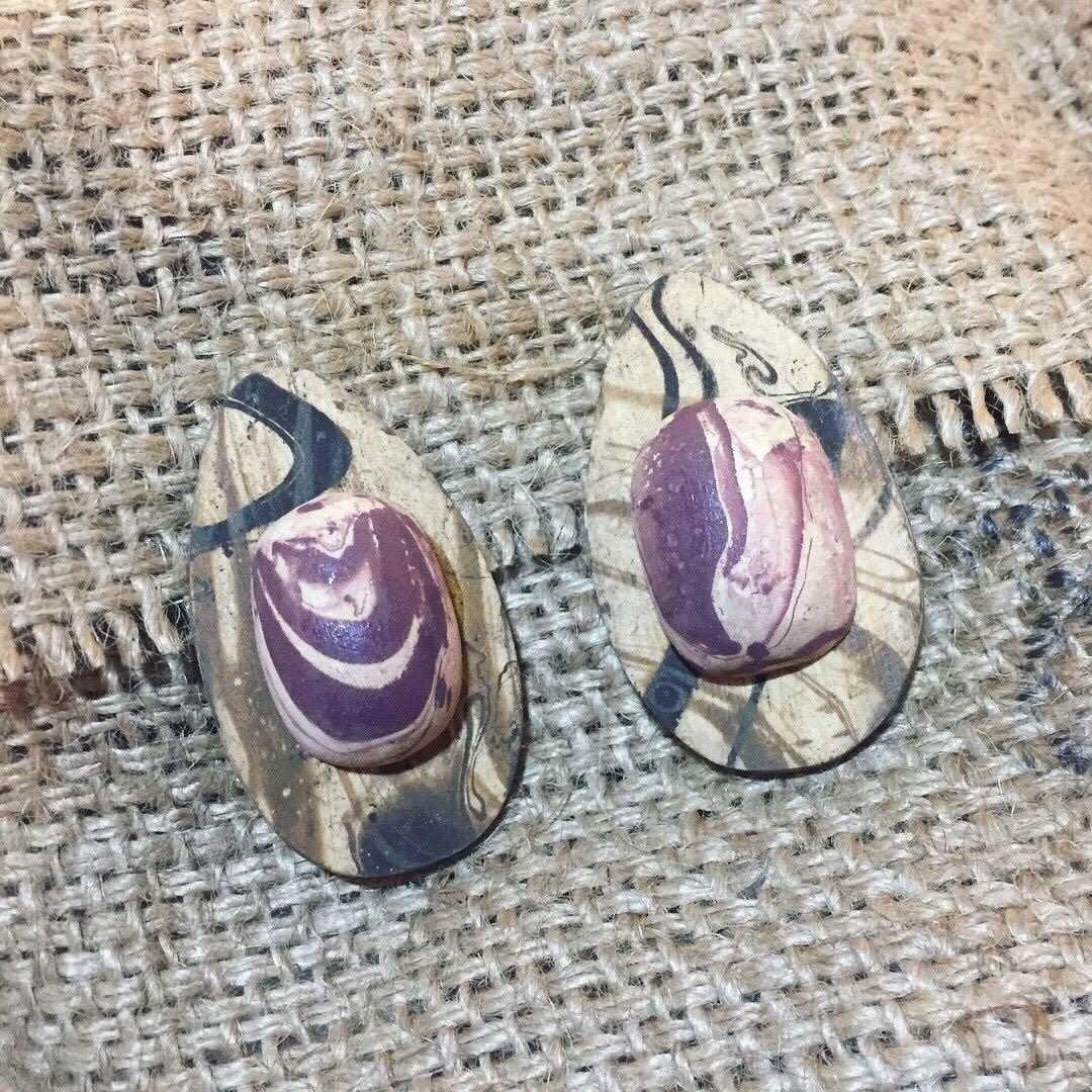 手作浮水染紋路特別木頭夾式耳環
