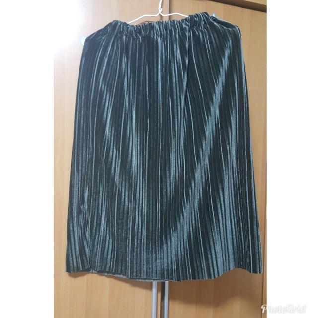 金屬光澤灰綠百褶裙