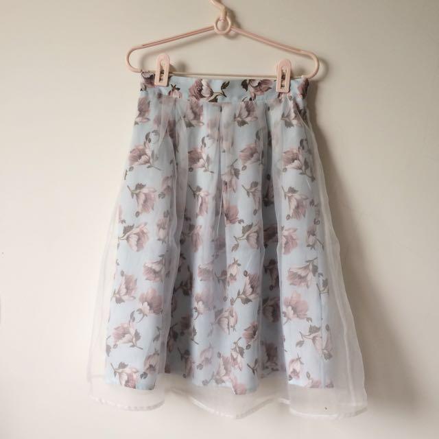 氣質印花裙 藍粉兩色