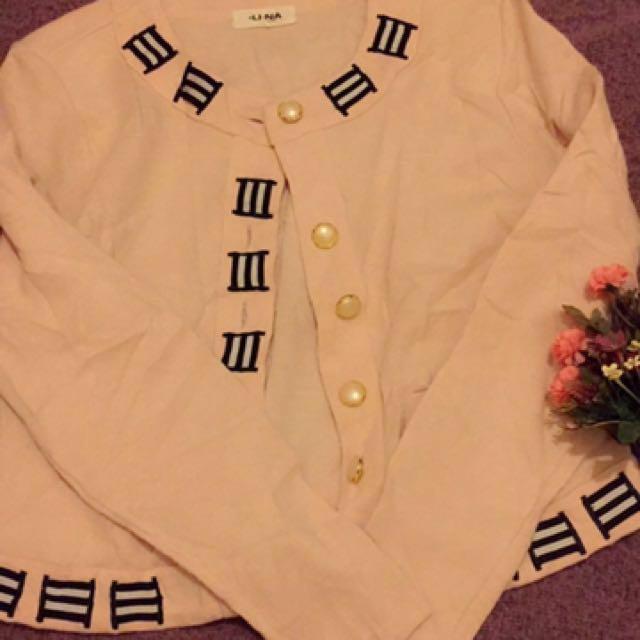 日本製-粉色氣質外套 (復古、古著風)
