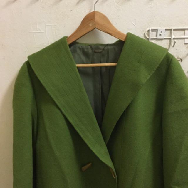 綠色大翻領牛角扣外套 古著大衣