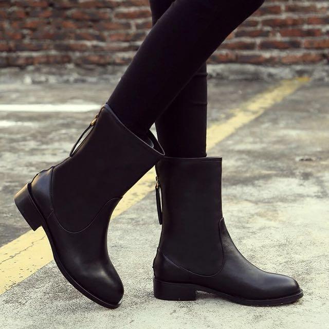 牛皮中筒靴 全新