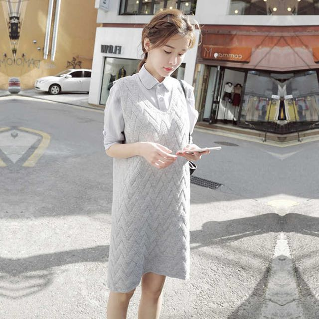 襯衫+針織毛衣連衣裙 洋裝
