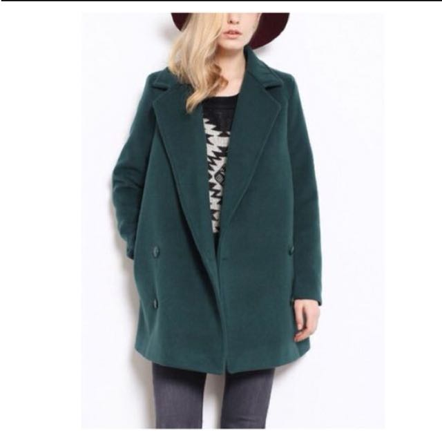 歐美風長版西裝大衣 軍綠色