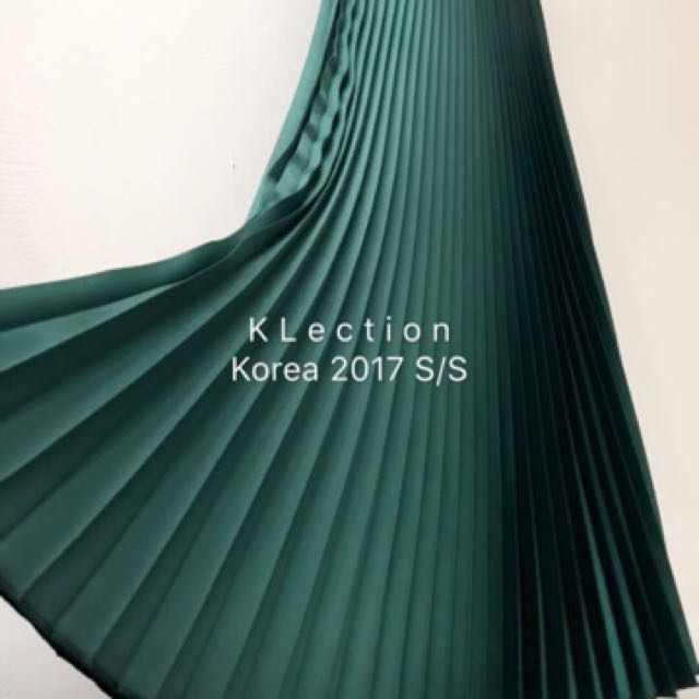 轉賣 百摺裙 金屬色 綠色 正韓1280