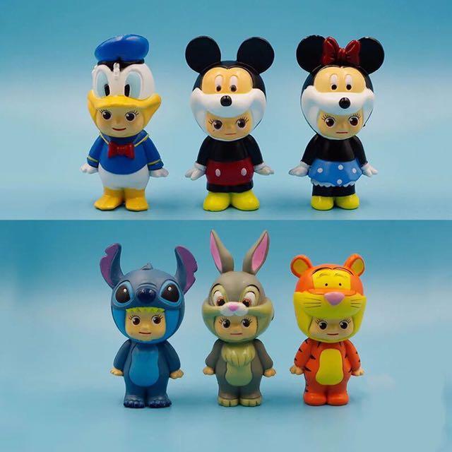 迪士尼 變裝 Q比 米奇 米妮 小熊維尼 唐老鴨 史迪奇 兔子 公仔 擺件 擺飾 玩具 造型 可愛 療癒