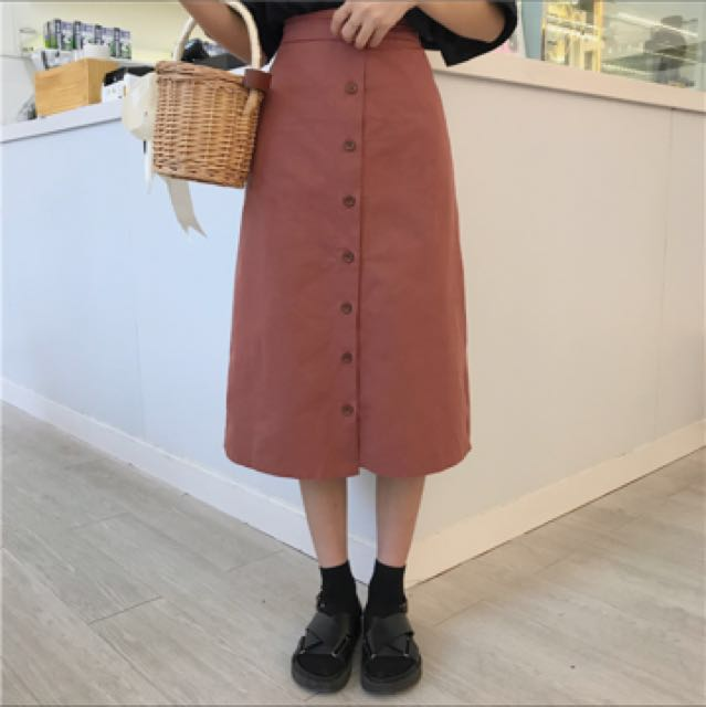 韓國排釦磚紅半身裙A字裙