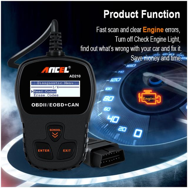 Car Code Reader Check Engine Diagnostic Scan Tool for OBDII Vehicles Ancel AD210