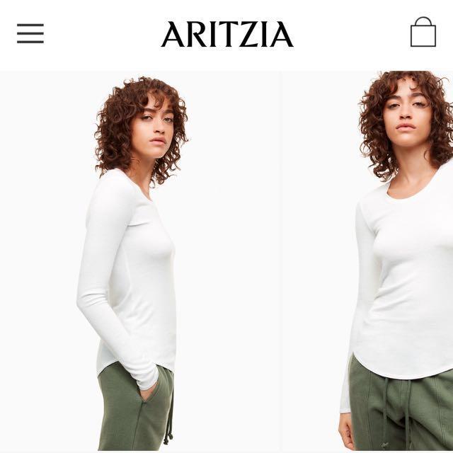 Aritzia White Long Sleeve T-Shirt