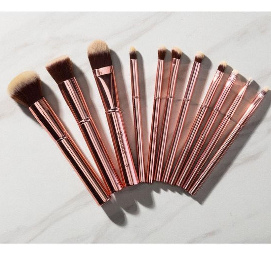 bh cosmetics 11 Piece Makeup Brush Set-Rose metal