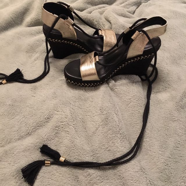Black and Gold lace up H&M weaved wedges