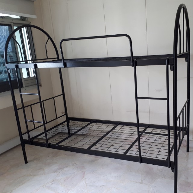 Black Double Decker Bed Frame, Furniture, Beds & Mattresses on Carousell
