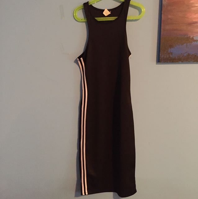 Black dress with white stripes on the side
