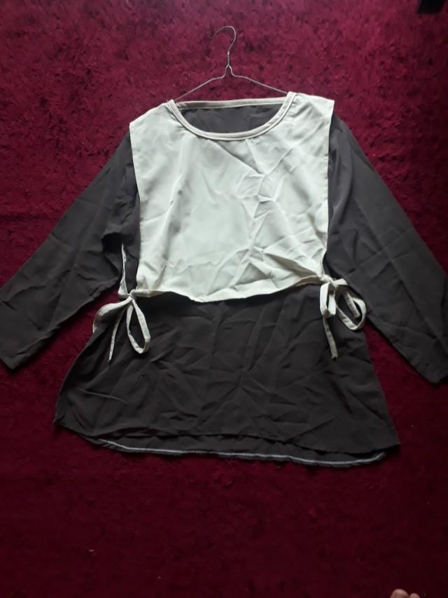 blouse brown mix krem