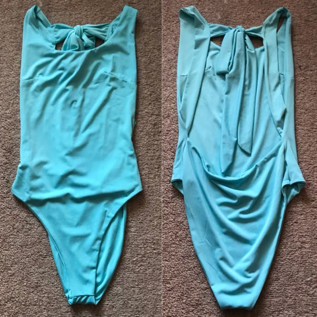 blue backless bodysuit