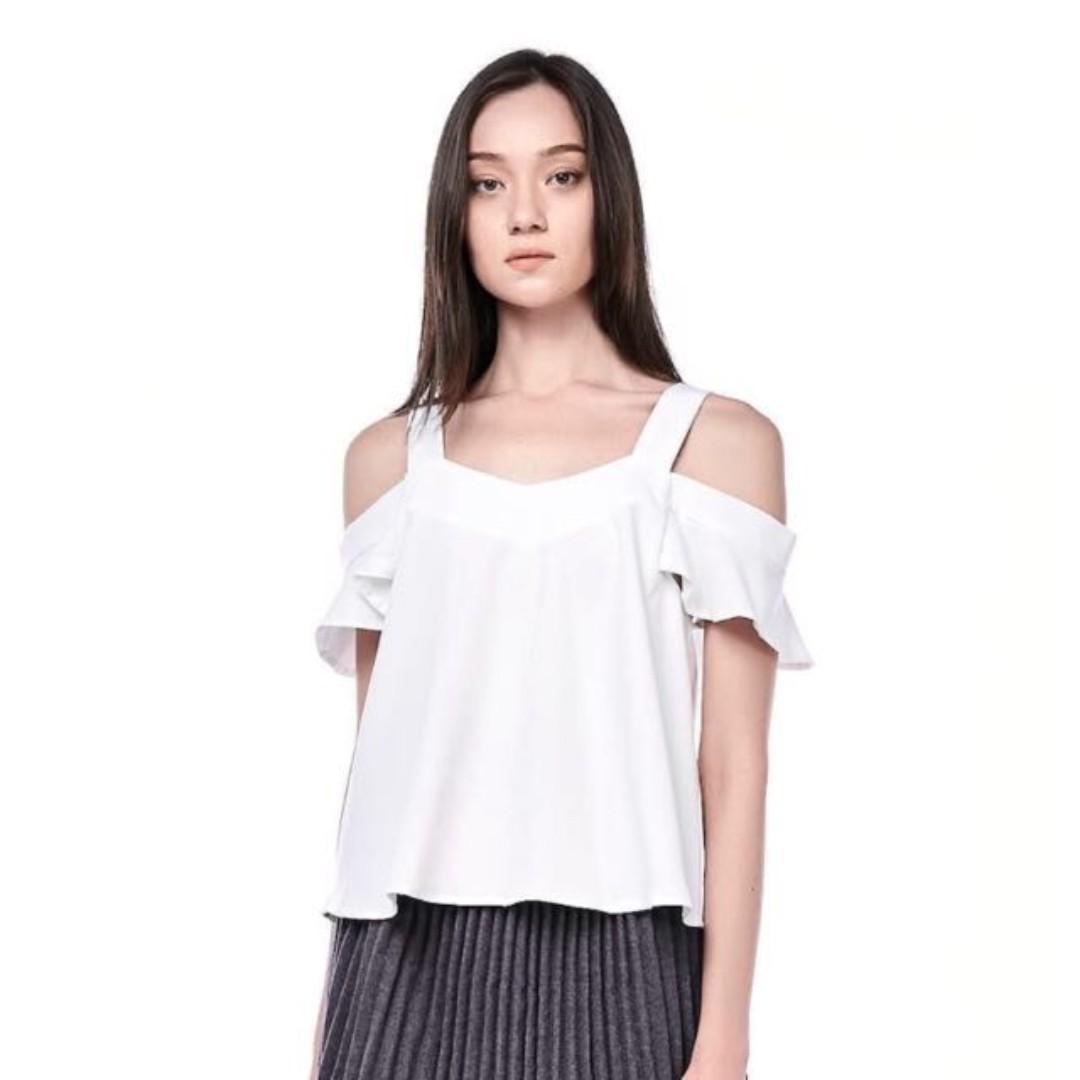 BN The Editors Market Nerine Cold Shoulder Blouse Top - White