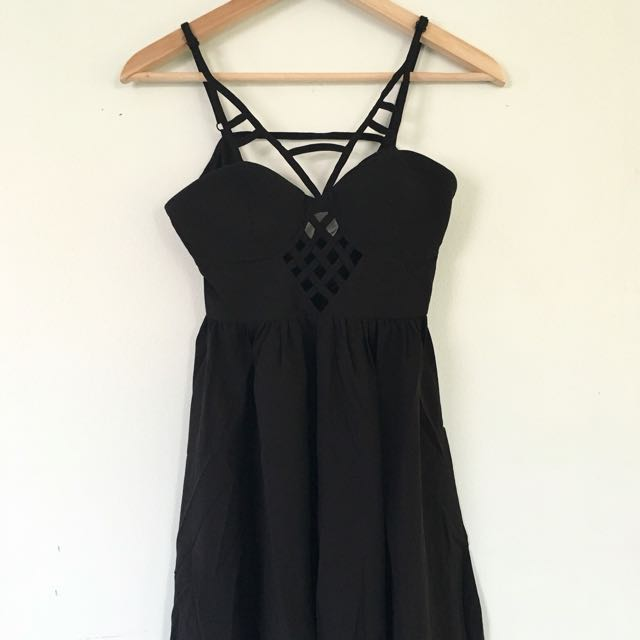 BNWT Black Strappy Skater Dress