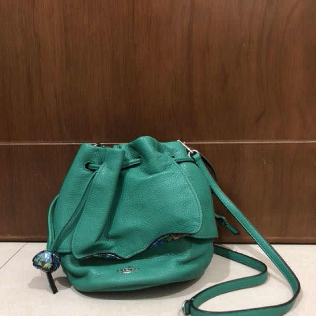 BNWT Coach Green Petal Drawstring Leather
