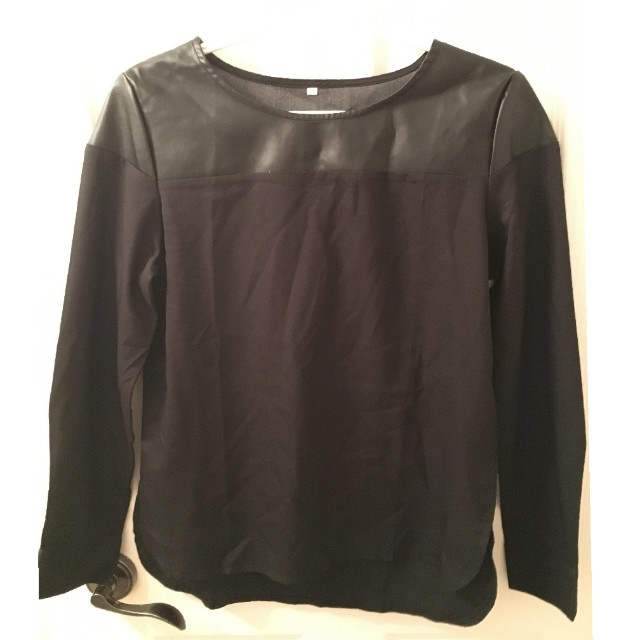 Boohoo top with faux leather shoulders
