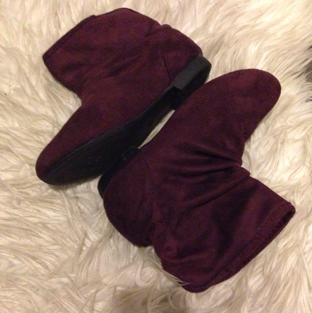 Burgundy boots