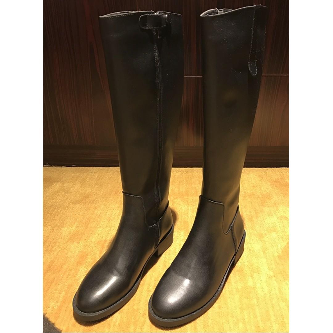 Candy Girl╭。全新現貨。冬季新款圓頭黑色拉鏈高筒內刷毛長靴。黑38