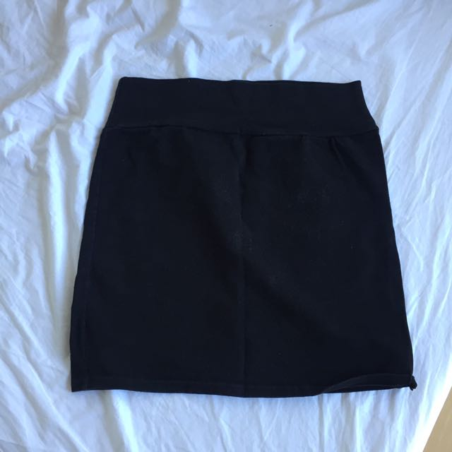 Cotton on black bodycon mini skirt
