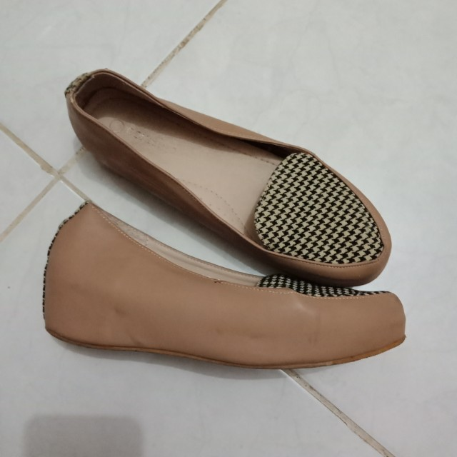 Cream wedges tartan shoes sepatu