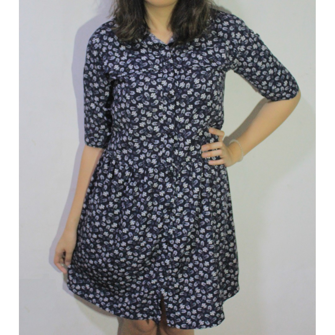 Dark Blue Paisley Dress with Roll-up Sleeves