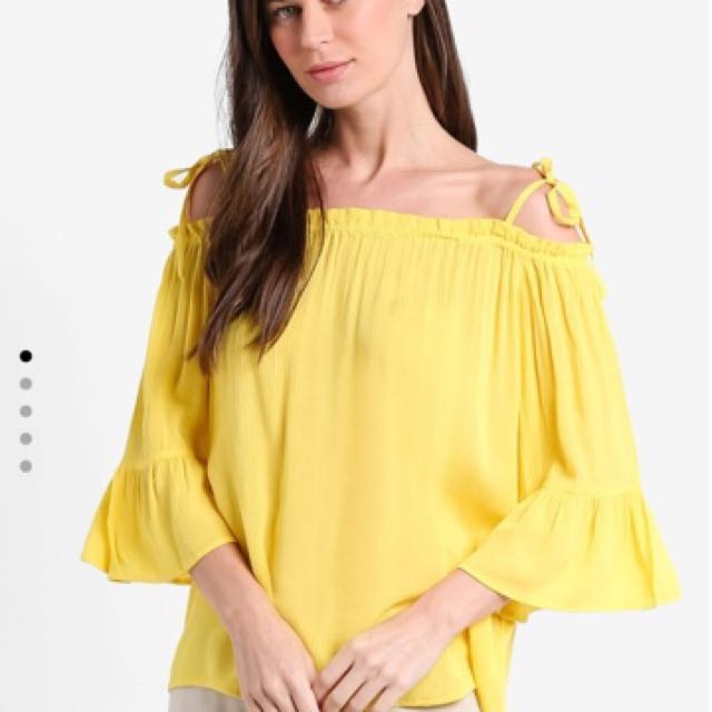 41f30cf8d199 Dorothy Perkins Yellow Off Shoulder Top With 3 4 Sleeve  1212YES ...