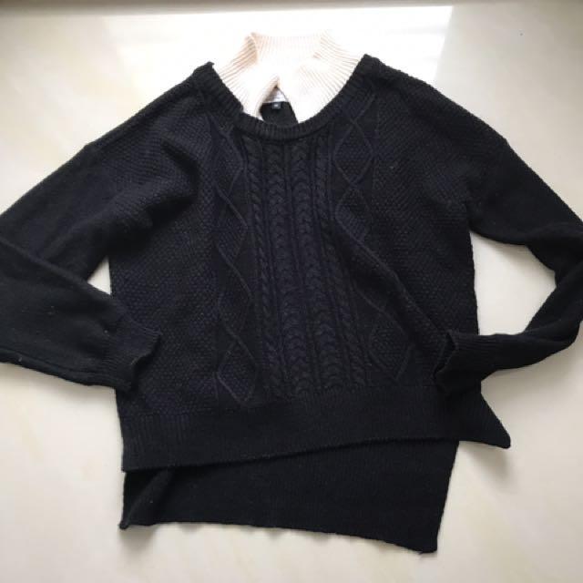 Double黑拼接領毛衣