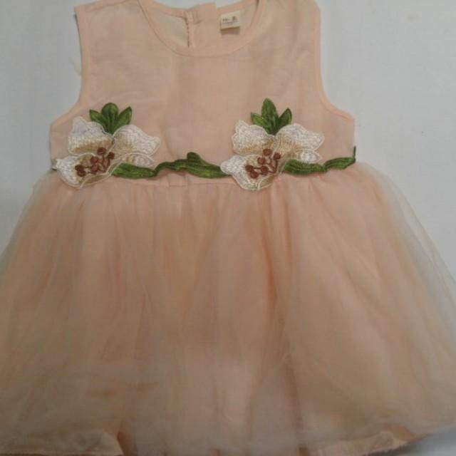 Dress Party Baby Warna Peach