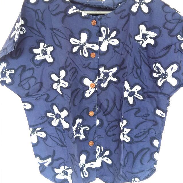 [FLASH SALE!] Blue Flower Loose Shirt