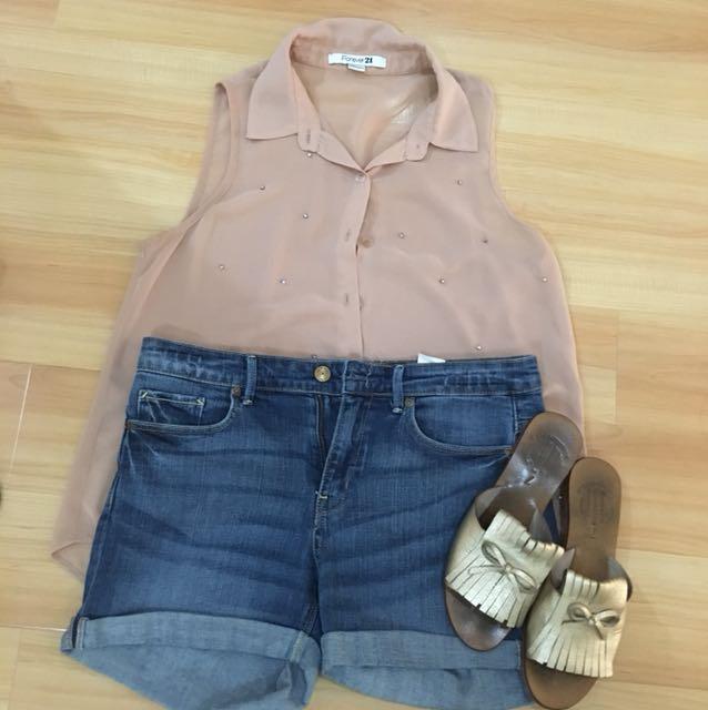 Forever 21 sheer studded blouse
