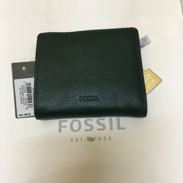 f39a4053886 Fossil alphine green mini wallet leather