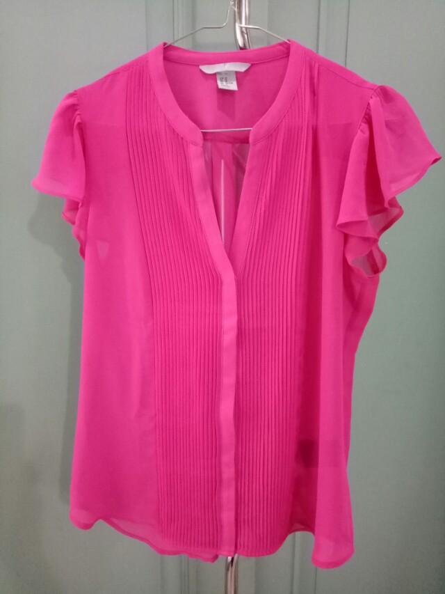 Hnm shocking pink blouse