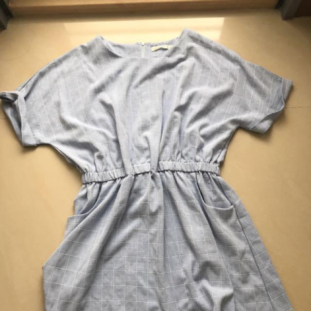 Imoda淺藍格縮腰口袋洋裝