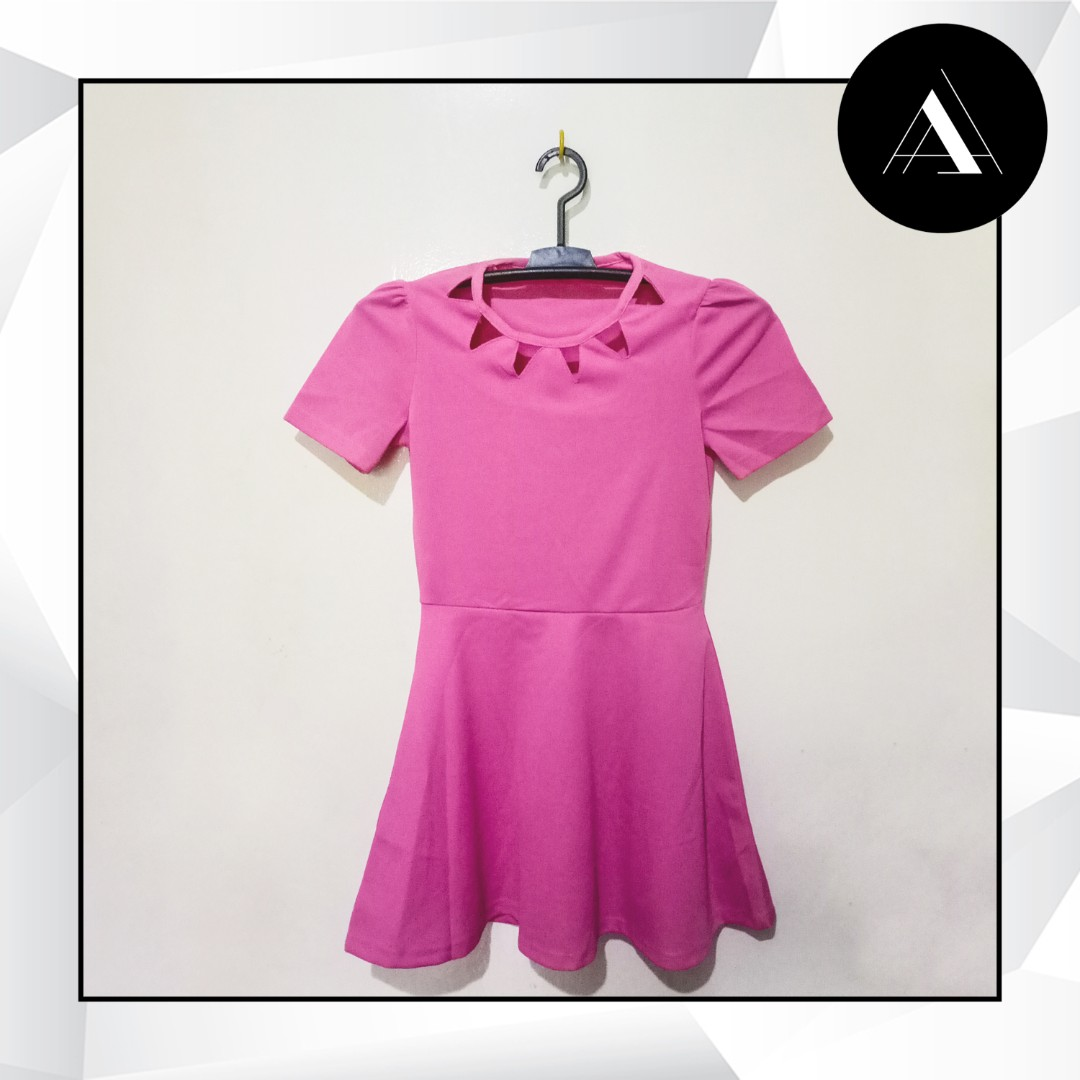 Korean Pink Dress, Preloved Women\'s Fashion, Clothes on Carousell