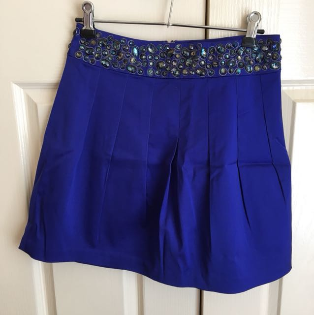 LIKE NEW Forever New Cobalt Blue Mini Skirt Jewelled Belt - Size 8